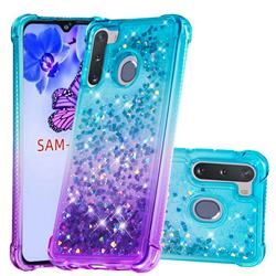 Rainbow Gradient Liquid Glitter Quicksand Sequins Phone Case for Samsung Galaxy A21 - Blue Purple