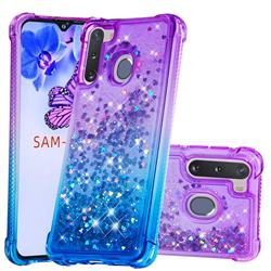 Rainbow Gradient Liquid Glitter Quicksand Sequins Phone Case for Samsung Galaxy A21 - Purple Blue