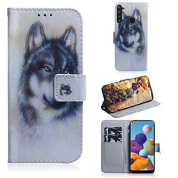 Snow Wolf PU Leather Wallet Case for Samsung Galaxy A21