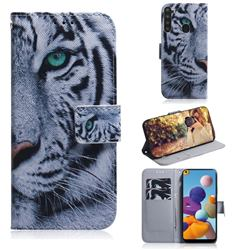 White Tiger PU Leather Wallet Case for Samsung Galaxy A21