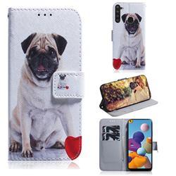 Pug Dog PU Leather Wallet Case for Samsung Galaxy A21