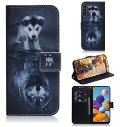 Wolf and Dog PU Leather Wallet Case for Samsung Galaxy A21