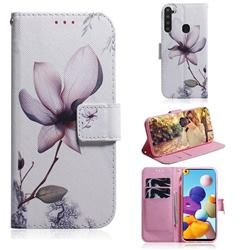 Magnolia Flower PU Leather Wallet Case for Samsung Galaxy A21