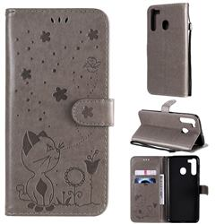 Embossing Bee and Cat Leather Wallet Case for Samsung Galaxy A21 - Gray