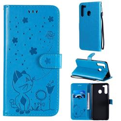 Embossing Bee and Cat Leather Wallet Case for Samsung Galaxy A21 - Blue