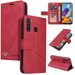 GQ.UTROBE Right Angle Silver Pendant Leather Wallet Phone Case for Samsung Galaxy A21 - Red