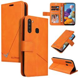 GQ.UTROBE Right Angle Silver Pendant Leather Wallet Phone Case for Samsung Galaxy A21 - Orange