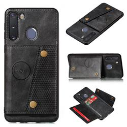 Retro Multifunction Card Slots Stand Leather Coated Phone Back Cover for Samsung Galaxy A21 - Black
