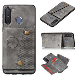 Retro Multifunction Card Slots Stand Leather Coated Phone Back Cover for Samsung Galaxy A21 - Gray