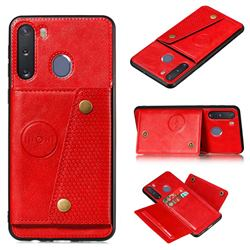 Retro Multifunction Card Slots Stand Leather Coated Phone Back Cover for Samsung Galaxy A21 - Red