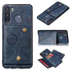 Retro Multifunction Card Slots Stand Leather Coated Phone Back Cover for Samsung Galaxy A21 - Blue