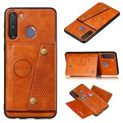 Retro Multifunction Card Slots Stand Leather Coated Phone Back Cover for Samsung Galaxy A21 - Brown