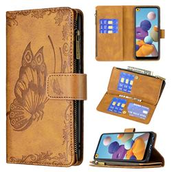 Binfen Color Imprint Vivid Butterfly Buckle Zipper Multi-function Leather Phone Wallet for Samsung Galaxy A21 - Brown