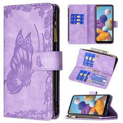 Binfen Color Imprint Vivid Butterfly Buckle Zipper Multi-function Leather Phone Wallet for Samsung Galaxy A21 - Purple