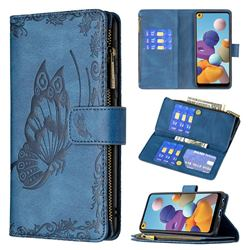 Binfen Color Imprint Vivid Butterfly Buckle Zipper Multi-function Leather Phone Wallet for Samsung Galaxy A21 - Blue