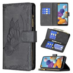 Binfen Color Imprint Vivid Butterfly Buckle Zipper Multi-function Leather Phone Wallet for Samsung Galaxy A21 - Black