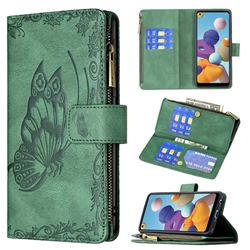 Binfen Color Imprint Vivid Butterfly Buckle Zipper Multi-function Leather Phone Wallet for Samsung Galaxy A21 - Green