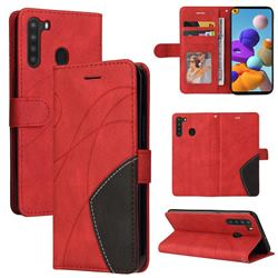 Luxury Two-color Stitching Leather Wallet Case Cover for Samsung Galaxy A21 - Red