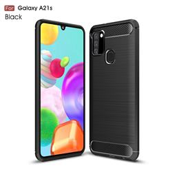 Luxury Carbon Fiber Brushed Wire Drawing Silicone TPU Back Cover for Samsung Galaxy A21s - Black