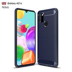Luxury Carbon Fiber Brushed Wire Drawing Silicone TPU Back Cover for Samsung Galaxy A21s - Navy