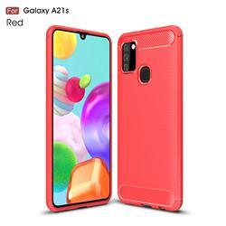 Luxury Carbon Fiber Brushed Wire Drawing Silicone TPU Back Cover for Samsung Galaxy A21s - Red