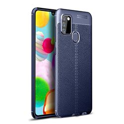 Luxury Auto Focus Litchi Texture Silicone TPU Back Cover for Samsung Galaxy A21s - Dark Blue
