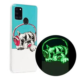 Headphone Puppy Noctilucent Soft TPU Back Cover for Samsung Galaxy A21s