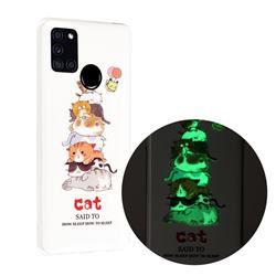 Cute Cat Noctilucent Soft TPU Back Cover for Samsung Galaxy A21s