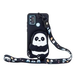 Cute Panda Neck Lanyard Zipper Wallet Silicone Case for Samsung Galaxy A21s