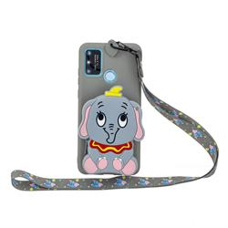Gray Elephant Neck Lanyard Zipper Wallet Silicone Case for Samsung Galaxy A21s
