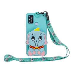 Blue Elephant Neck Lanyard Zipper Wallet Silicone Case for Samsung Galaxy A21s
