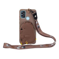 Brown Bear Neck Lanyard Zipper Wallet Silicone Case for Samsung Galaxy A21s