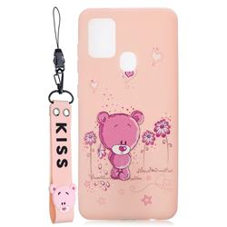Pink Flower Bear Soft Kiss Candy Hand Strap Silicone Case for Samsung Galaxy A21s