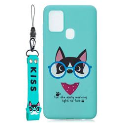 Green Glasses Dog Soft Kiss Candy Hand Strap Silicone Case for Samsung Galaxy A21s