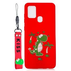 Red Dinosaur Soft Kiss Candy Hand Strap Silicone Case for Samsung Galaxy A21s