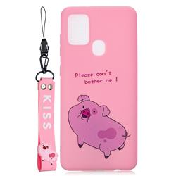 Pink Cute Pig Soft Kiss Candy Hand Strap Silicone Case for Samsung Galaxy A21s