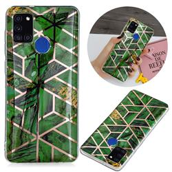 Green Rhombus Galvanized Rose Gold Marble Phone Back Cover for Samsung Galaxy A21s