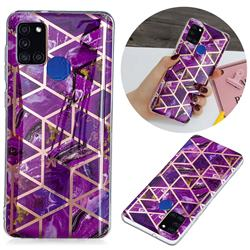 Purple Rhombus Galvanized Rose Gold Marble Phone Back Cover for Samsung Galaxy A21s