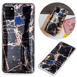 Black Galvanized Rose Gold Marble Phone Back Cover for Samsung Galaxy A21s