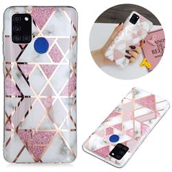 Pink Rhombus Galvanized Rose Gold Marble Phone Back Cover for Samsung Galaxy A21s