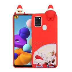 Santa Claus Elk Christmas Xmax Soft 3D Doll Silicone Case for Samsung Galaxy A21s