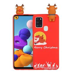 Moon Santa and Elk Christmas Xmax Soft 3D Doll Silicone Case for Samsung Galaxy A21s