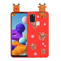 Elk Snowflakes Christmas Xmax Soft 3D Doll Silicone Case for Samsung Galaxy A21s