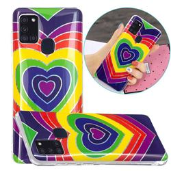 Rainbow Heart Painted Galvanized Electroplating Soft Phone Case Cover for Samsung Galaxy A21s
