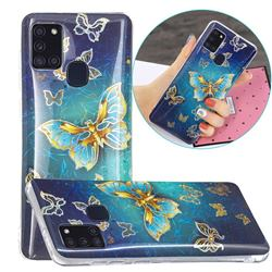 Golden Butterfly Painted Galvanized Electroplating Soft Phone Case Cover for Samsung Galaxy A21s