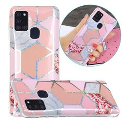 Pink Marble Painted Galvanized Electroplating Soft Phone Case Cover for Samsung Galaxy A21s