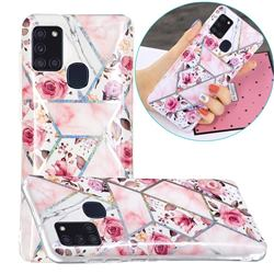 Rose Flower Painted Galvanized Electroplating Soft Phone Case Cover for Samsung Galaxy A21s