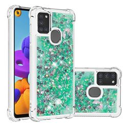 Dynamic Liquid Glitter Sand Quicksand TPU Case for Samsung Galaxy A21s - Green Love Heart
