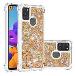 Dynamic Liquid Glitter Sand Quicksand TPU Case for Samsung Galaxy A21s - Rose Gold Love Heart