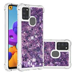 Dynamic Liquid Glitter Sand Quicksand Star TPU Case for Samsung Galaxy A21s - Purple